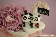 Lovely Panda Wedding Cake Topper by kikuike on Etsy, $110.00