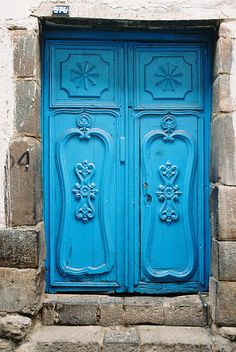 A door in Cusco, Peru. Blue doors bring good luck or so they say in Peru
