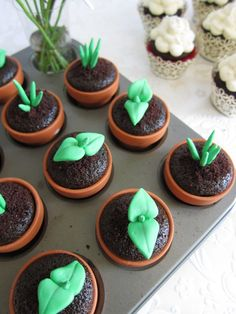 Sweet Sprout Cupcakes - made your favorite chocolate cupcake recipe, place batter in mini terra cotta pots and place in cupcake pan, bake, make green edible fondant plant sprouts.  How fun!