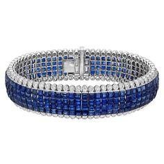 Estate Betteridge Collection Invisible-Set Sapphire & Diamond Bracelet
