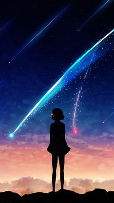 Wallpaper anime galaxy 53 ideas for 2019 Your Name Wallpaper, Anime Wallpaper Phone, Anime Backgrounds Wallpapers, Anime Scenery Wallpaper, Couple Wallpaper, Animes Wallpapers, Cute Wallpapers, Hd Wallpaper, Galaxy Wallpaper