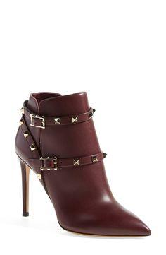 'Rockstud' Pointy Toe Calfskin Leather Bootie (Women)