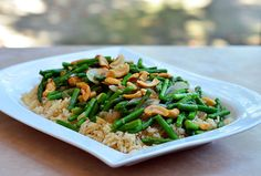 Asparagus and Cashew Stir-fry served over brown rice of course I'm ...