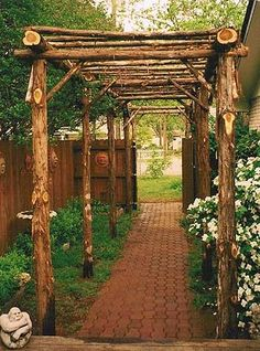 Arbor Walk way into my veggie garden   Doing this this weekend!!!!!!!!!! minus the brick just mulch and stepping stones