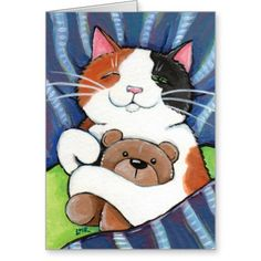 Calico Cat and Teddy Bear | Cat Art Greeting Card by Lisa Marie Robinson