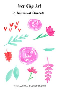 Free Watercolor Floral Valentine's Day Clip Art download