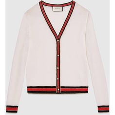 Gucci Merino Wool Knit Cardigan (42.935 RUB) ❤ liked on Polyvore featuring tops, cardigans, outerwear, gucci, white, pink v neck cardigan, cardigan top, merino top, gucci cardigan and gucci tops