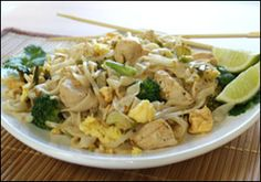 Hungry Girl Chicky Pad Thai...made with Tofu Shiritaki Noodles instead of rice noodles...and only 285 calories (or 7 points if you are following Weight Watchers). I made it tonight and it is amazing!!!