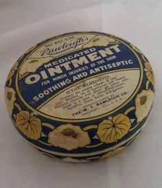 advertisement TIN box container Rawleigh's ointment round Vintage