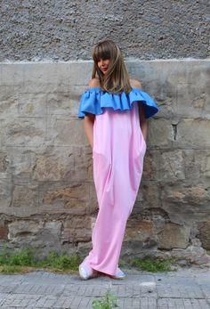 Pink and Blue Caftan dress , maxi dress , ruffle dress , plus size dress , off shoulder dress , caftan, oversized dress , summer dress by cherryblossomsdress on Etsy https://www.etsy.com/no-en/listing/243349423/pink-and-blue-caftan-dress-maxi-dress