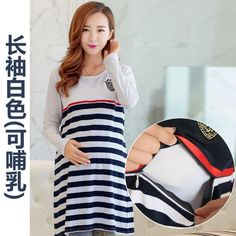 Maternity Clothing Casual Women Clothes Striped Maternity Dress