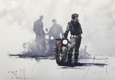 Ton Up Boys by Daniel Marshall Watercolor 15 x 21 Motorcycle Art, Bike Art, Art And Illustration, Bike Sketch, Bike Drawing, Bd Comics, Automotive Art, Bobber, Watercolor Art