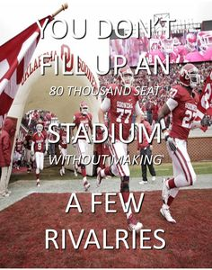University of Oklahoma Sooners - You Don't Fill Up An 80 Thousand Seat Stadium Without Making A Few Rivalries Oklahoma University Football, Tennessee Titans Football, Ou Football, College Football, Bronco Sports, Boomer Sooner, When I Die, Basketball Funny, College Fun