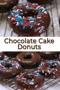 Are you a chocolate lover? Then you will like these yummy chocolate cake donuts! They are so incredible easy to make using simple ingredients like flour cocoa powder sugar baking powder baking soda salt butter vanilla extract milk and an egg. Chocolate Cake Donuts, Chocolate Flavors, Chocolate Recipes, Chocolate Glaze, Chocolate Bowls, Chocolate Hazelnut, Chocolate Truffles, Homemade Donuts, Homemade Chocolate