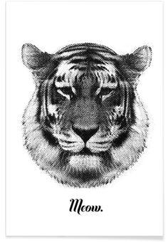 Tiger says Meow als Premium poster door RK Design | JUNIQE