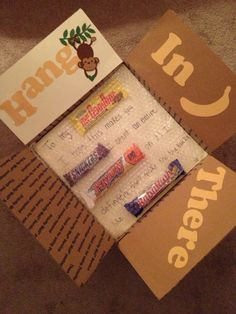 """""""Hang in there"""" care package ooh @Amanda Snelson Snelson Snelson Snelson Wheatley this could be a good idea ;) depending how long it takes him to open yellow one"""