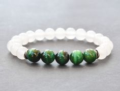 Green Tiger Eye & White Jade Bracelet Mens Bracelet Bead Bracelet Womens Gemstone Stretch Bracelet Sterling Silver Yoga Bracelet Gifts