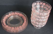 Pyrex Gooseberry Glass Saucer and Sherbert Set of 5
