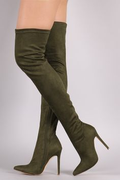 Liliana Suede Pointy Toe Stiletto Over-The-Knee Boots | UrbanOG