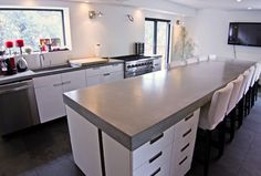 Concrete kitchen tops and island - modern - kitchen countertops - new york - Concrete Shop