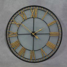 Large Black and Gold Glass Backed Skeleton Clock 120 cm Diameter Wall Clocks Uk, Gold Wall Clock, Kitchen Wall Clocks, Mantel Clocks, Extra Large Wall Clock, Skeleton Wall Clock, Shabby Chic Clock, Garden Clocks, Roman Clock