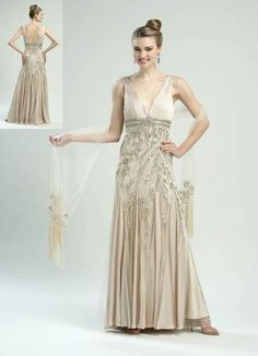 Sue Wong Beige Floral Beaded Flowing Gown