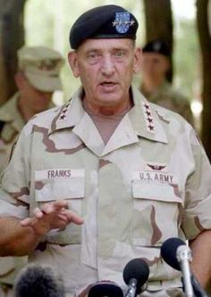 Tommy Ray Franks (born June 17, 1945) is a retired general in the United States Army. His last Army post was as the Commander of the United States Central Command, overseeing United States Armed Forces operations in a 25-country region, including the Middle East. Franks was the U.S. general leading the attack on the Taliban in Afghanistan in response to the September 11 attacks on the World Trade Center & The Pentagon in 2001. He led the 2003 invasion of Iraq & overthrow of Saddam Hussein.