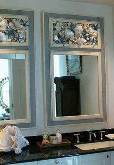 Take a look at the best florida condo bathroom in the photos below and get ideas for your own luxury vacations! Beautiful coastal beach house or condo bathroom with shell accent mirror. Beach Cottage Style, Coastal Cottage, Coastal Homes, Beach House Decor, Coastal Living, Coastal Decor, Coastal Entryway, Seaside Decor, Beach Themed Decor