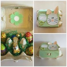 Egg carton puffed up - Diamantin´s Hobbywelt: Egg carton prettied up - Easter Gift, Easter Crafts, Easter Bunny, Easter Eggs, Diy Gifts For Kids, Crafts For Kids, Diy Advent Calendar, Toilet Paper Roll Crafts, Easter Traditions