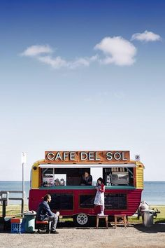 Mornington Peninsula, Australia -- The Café del Sol coffee caravan at Dromana beach. A chic place to get lunch on the go (with a view of the surf!).