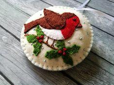 Felt Robin bird ornament Felt Christmas ornaments Christmas