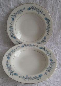 Vintage Theodore Haviland Clinton Soup Salad Bowls Rimmed Cream Blue Gold #TheodoreHaviland