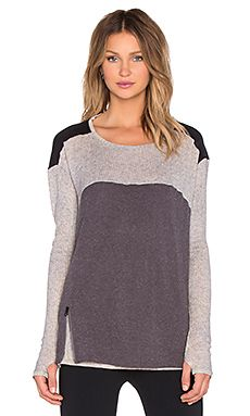 BLANC NOIR Drape Back Top in Ash Heather & Charcoal Heather