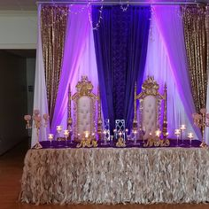 - Purple & Gold Royal Wedding Gold Throne Chairs Regency Purple, Lavender, Gold Sequin & White Drop C - Purple And Gold Wedding Themes, Royal Purple Wedding, Royal Wedding Themes, Purple Wedding Decorations, Royal Theme, Royal Blue And Gold, Wedding Gold, Purple Gold, Wedding Flowers