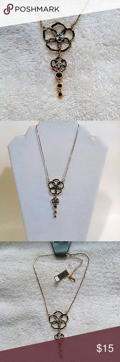 """Flower Statement Necklace Fine costume jewelry from Danish design co. Pilgrim.  Black enamel and crystals, gold tone chain.  Adjustable  14"""" - 16""""  NWT, gift boxed. Pilgrim Jewelry Necklaces"""