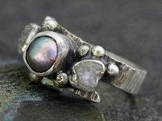 Raw Diamonds and Steel Grey Pearl in Textured by Specimental, $375.00