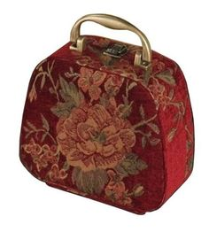 San Remo Antique Floral Tapestry Cosmetic Train Case