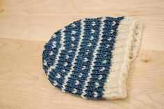 Blue with white snowflakes baby beanie hand knit by melissahager, $20.00 #babyknits #babyhat