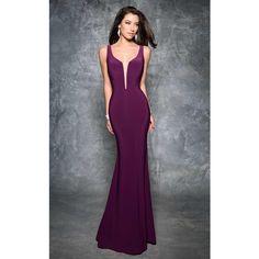 Nina Canacci 7252 Prom Dress 2017 Long V-Neck Sleeveless ($298) ❤ liked on Polyvore featuring dresses, aubergine, formal dresses, plunging v neck dress, v-neck dresses, glitter prom dresses and long dresses