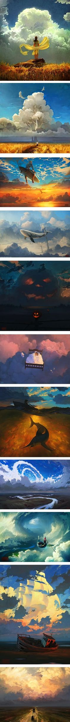 "City of Clouds (Artem ""Rhads"" Chebokha) Fantasy Landscape, Fantasy Art, Inspiration Artistique, Kunst Online, Digital Illustration, Amazing Art, Awesome, Concept Art, Character Concept"