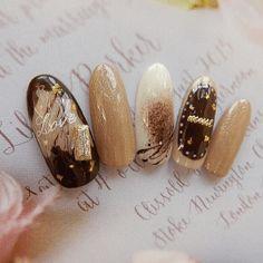 Beige Nails, Brown Nails, Cute Nails, Pretty Nails, Kawaii Nail Art, Japan Nail, Easter Nail Art, Japanese Nail Art, Oval Nails