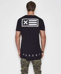 Flag Layered T-Shirt Jet Black