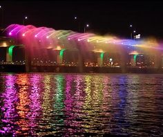 Banpo Bridge: Seoul The Banpo Bridge, which crosses the Han River in downtown Seoul, features a 760-nozzle fountain that sprays 190 tons of water per minute a distance of up to 50 yards—while illuminated in a rainbow of colors and synchronized to music. Beneath the vehicular carriageway (which, on windy days, may well double as the world's longest carwash) is a pedestrian walkway that's often shrouded in fountain mist and—during high rainfall—completely submerged by the Han River.