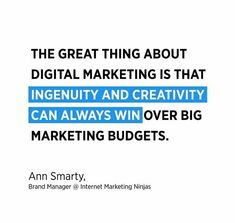 The great thing about digital marketing is that ingenuity and creativity can always win over big marketing budget . Marketing Budget, Facebook Marketing, Internet Marketing, Online Marketing, New Business Ideas, Business Emails, Online Business, Digital Marketing Quotes, Digital Marketing Services