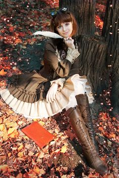 Sweeter side of the Victorian elements of Steampunk fashion surrounded by the colorful fall leaves.