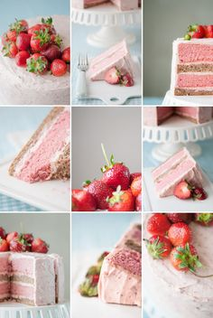 Strawberry banana milkshake cake by Hungry Rabbit