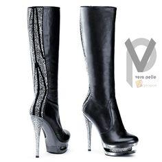 Damen Plateau High Heel Stiefel Strass Leder Elegant Designer Extravagant APROPO