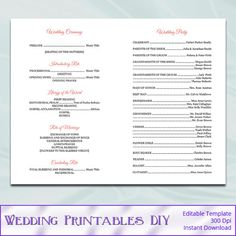 Catholic Wedding Program Digital File  Per Page By Kitsyco