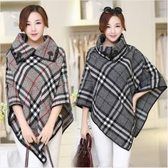 2015 fashion winter woolen overcoat women fashion trench woolen cape coat plus size womens capes and ponchoes elegant plaid coat