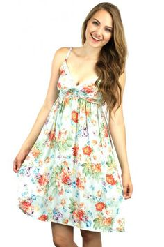 Mint floral print spaghetti strap dress with scrunched bust http://enewstore.com/womens-dresses/